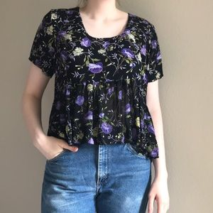 Vintage Cropped Ruffle Top M
